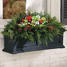 Window Box Flowers for Winter Winter Window Boxes, Christmas Window Boxes, Christmas Planters, Christmas Garden, Christmas Arrangements, Christmas Porch, Outdoor Christmas Decorations, Christmas Centerpieces, Christmas Lights