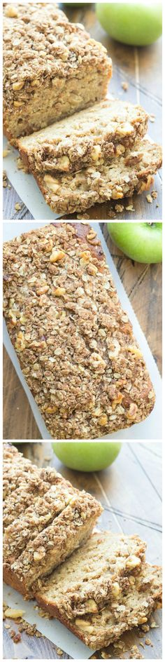 This Greek Yogurt Apple-Cinnamon Bread is delicious for breakfast or even dessert! The Greek yogurt in the batter keeps this apple quick bread incredibly moist, and you will love the pieces of cinnamo(Baking Treats Breakfast Recipes) Apple Recipes, Fall Recipes, Baking Recipes, Bread Recipes, Think Food, Love Food, Apple Cinnamon Bread, Apple Bread, Applesauce Bread