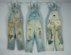 LOT 821 THREE MIGRANT WORKERS OVERALLS. - whitakerauction  Distressed farm worker clue denim overalls: Dee Cee brand, Red Ball and Liberty.