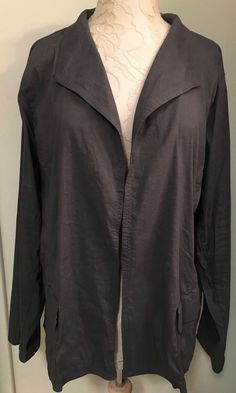 EILEEN FISHER Size 2X Dark Gray Jacket linen blend  Open Style Italian Fabric…