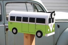 Volkswagen Bus Mailbox... totally adorable!  love the V-dub :)