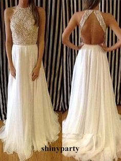 Custom Made Charming Chiffon White Long Lace Prom Dresses,Evening Dresses #shinyparty #prom #dress #formal #lace #white #long #longlace