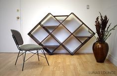 Argyle Shelving Unit Mid Century Eames Era Furniture design [lunarloungedesign at Etsy] Lounge Design, Record Storage, Storage Organization, Mid Century Furniture, Home And Living, Living Room, Office Decor, Shelving, Furniture Design