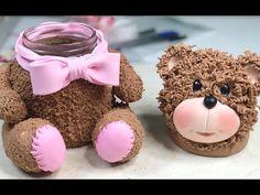 Frasco de oso 🐻 de porcelana fria multiusos - YouTube Clay Jar, Fimo Clay, Polymer Clay Crafts, Handmade Crafts, Diy And Crafts, Diy For Kids, Crafts For Kids, Chalk Crafts, Pot A Crayon