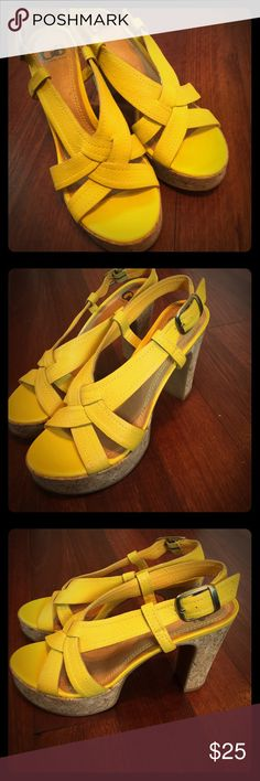 Gianni Bini Heels These are an adorable like new pair of size 8 Gianni Bini heels and they are a mustard yellow in color. They have a platform, which makes them extremely comfortable to wear. Please let me know if you have any questions. Thanks Gianni Bini Shoes Heels