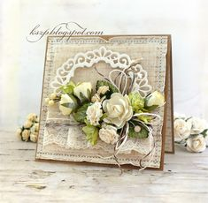 Beautiful floral cluster on this card with lots of lovely feminine textural elements