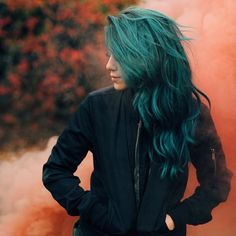 I want my hair to come out this color and not green Hair Inspo, Hair Inspiration, Coloured Hair, Dye My Hair, Rainbow Hair, Green Hair, Teal Green, Hair Dos, Gorgeous Hair