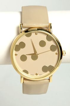 It's A-Dot Time Taupe Watch at LuLus.com. This watch is already on my wish list. 20.00. Love the color and style. www.lulus.com
