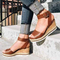 Women Sandals Summer New Hot Female Fish Mouth Exposed Toe Wedges Sandals Casual PU Ladies Shoes Ankle Strap Heels, Ankle Straps, Strap Sandals, Shoes Sandals, Wedge Sandals Outfit, Shoe Wedges, Sandal Heels, Women Sandals, Low Heels