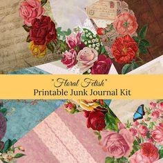 Kiwi Card House : Floral Fetish Printable Junk Journal Kit