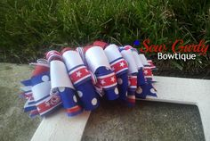 Over The Top Funky Loopy 4th of July Bow by SewGurlyBowtique, $9.00