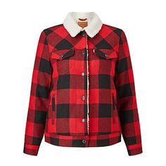 Buy Levi's Check Sherpa Trucker Jacket, Cherry Bomb Plaid Online at johnlewis.com