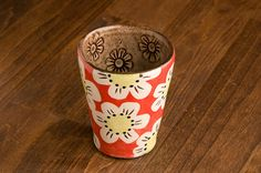 Radiant Red Tumbler with white poppies Colleen McCall Ceramics stoneware pottery hand-painted colorful on Etsy, $30.00