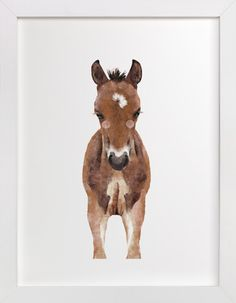 """Baby Animal Horse"" - Kids Open Edition Non-custom Art Print by Cass Loh. Baby Wall Art, Art Wall Kids, Nursery Wall Art, Nursery Room, Nursery Ideas, Baby Room, Horse Wall Art, Year Of The Horse, Baby Horses"
