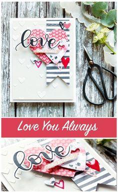 Card by Debby Hughes [Simon Says Stamp! Valentine Love Cards, Valentine Crafts, Wedding Anniversary Cards, Wedding Cards, Tarjetas Diy, Karten Diy, Cute Cards, Diy Cards, Candy Cards