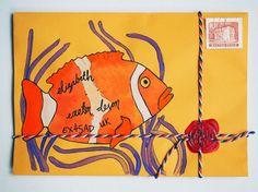 Hand Drawn ORANGE FISH Envelope