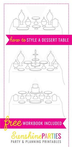 FREE How To Create A Party Table Style Guide - learn about how to create the perfect party table, learn about colors and styling to make your next party just amazing! table FREE PARTY TABLE SET-UP GUIDE Party Food Buffet, Candy Buffet Tables, Dessert Tables, Buffet Ideas, Dessert Bars, Quick Dessert, Dessert Healthy, Diy Party Table, Baptism Dessert Table
