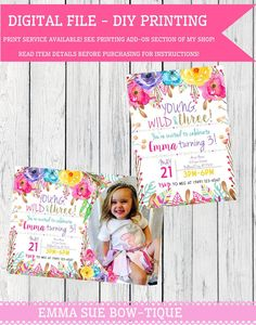 53 best personalized birthday invitations images on pinterest young wild three or any age boho wild flower personalized birthday invitation background digital file boho three17 2017 filmwisefo