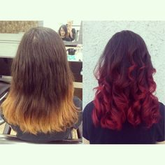 Dark brown to red ombre fashion color on medium hair by Cheyenne Daniels in Redding, CA at Modern Muse Salon