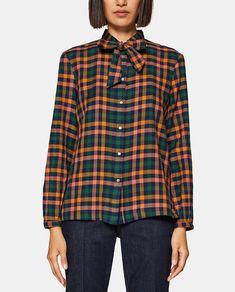 2444ca1b75 Camisa de mulher Esprit aos quadrados com laçada · Moda e Acessórios · El  Corte Inglés