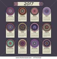 Calendar 2017. Vintage decorative colorful elements. Ornamental floral oriental pattern, vector illustration. Islam, Arabic, Indian, turkish, pakistan chinese ottoman motifs