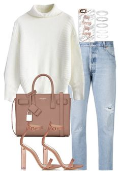 """""""Untitled #2529"""" by theeuropeancloset ❤ liked on Polyvore featuring RE/DONE, Chicwish, Yves Saint Laurent, Gianvito Rossi, Casetify and Belk Silverworks"""