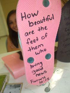 Verse written on the bottom of flip flops for OCC shoe boxes