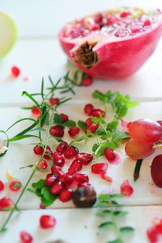 pomegranate: I plan to make a red and green salad for Christmas, using arugula and pomegranate seeds. Easy, tasty, pretty!