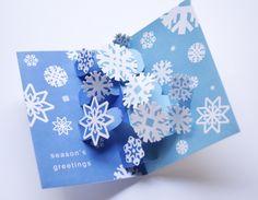 クリスマスカード Pop-Up Snowflakes