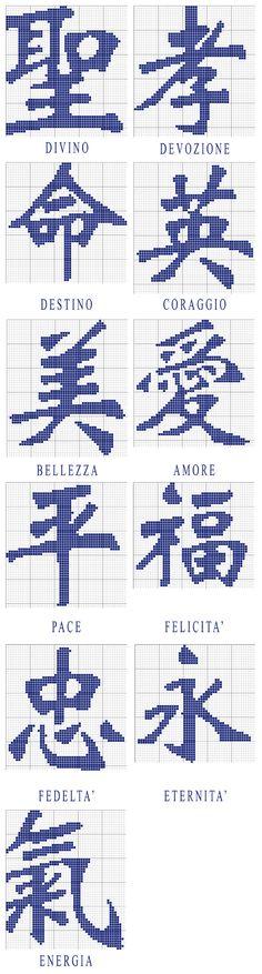 Ideogrammi giapponesi C2c Crochet, Crochet Chart, Filet Crochet, Crochet Stitches, Crochet Patterns, Cross Stitch Quotes, Cross Stitch Heart, Stitch 2, Loom Beading