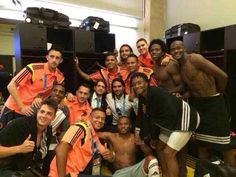 Colombia soccer team after 1st win of World Cup 2014!