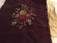 Preworked Needlepoint Canvas Tapestry Roses 16 x 21 Brown Background Red Yellow  | eBay