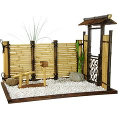Oriental Furniture Zen Mini Garden in Natural bamboo Oriental Decor, Oriental Furniture, Oriental Design, Mini Jardin Zen, Mini Zen Garden, Miniature Zen Garden, Garden Modern, Bamboo Fence, Faux Bamboo