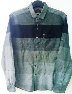 Engineered block stripe shirt