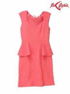 "Vestido estilo ""peplum"" - Color Coral"
