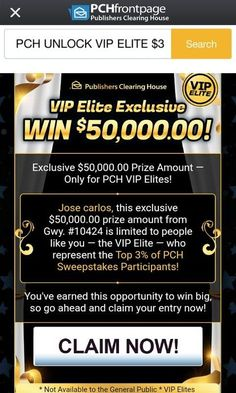 Feb 2019 - Publishers clearing house i jose carlos gomez claim prize day promotion card bulletin id code PCH-AAA for activation and to win it.