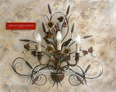 Anemoni e Spighe. Applique Oro Vecchio | GBS Illuminazione