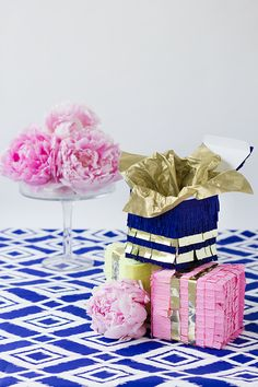 DIY Piñata Boxes - she uses them to give business cards at meetings