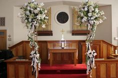 WEDDING CENTERPIECE FOR CHURCH ALTAR | wedding altar flowers 2 towers with white flowers