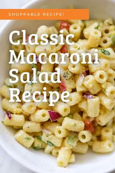 How to make macaroni salad from scratch! foodiecrush.com How To Make Macaroni, Classic Macaroni Salad, Dinner Bell, Salad Recipes, Macaroni And Cheese, Side Dishes, Salads, Dinner Recipes, Fresh