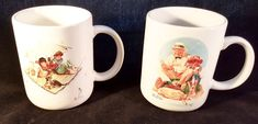 Norman Rockwell 2 Tea Coffee Mug Set Catching The Big One &  Fishermans Paradise