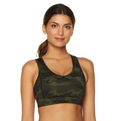 The Warm Up by Jessica Simpson V-Neck Sports Bra with Mesh -