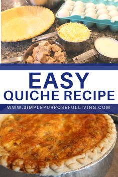 Try this easy quiche recipe. Add in bacon, sausage or vegetables to make a delicious breakfast. #quiche #quicherecipe #breakfastrecipe #easybreakfast #bakedbreakfast #simplepurposefulliving Breakfast Quiche, Breakfast Dishes, Breakfast Recipes, Brunch Recipes, Dinner Recipes, Breakfast Snacks, Savory Breakfast, Breakfast Casserole, Gourmet Recipes