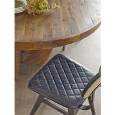 Four Hands Belmont 59 x 59 Round Light Honey Suki Dining Table Eclectic Dining Chairs, Living Room Chairs, Dining Room Furniture, Four Hands Furniture, Natural Furniture, Leather Dining Chairs, Industrial Loft, Quilted Leather, Home Collections