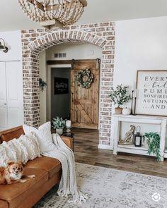 Schönes Bauernhaus mit dem Ziegelstein in diesem Wohnraum - - Décoration Intérieure Dream Home Design, My Dream Home, House Design, Design Design, Design Ideas, Home Living Room, Living Room Decor, Living Area, Dining Room