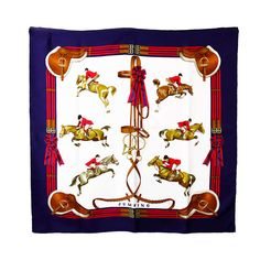 Hermes Jumping Silk Scarf | From a collection of rare vintage scarves at http://www.1stdibs.com/fashion/accessories/scarves/