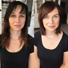 Mind Blowing Hair Transformation Before & After Photos - Gallery Makeup Haircuts For Thin Fine Hair, Oval Face Haircuts, Thin Hair Cuts, Short Thin Hair, Long Face Hairstyles, Hairstyles Haircuts, Bangs With Medium Hair, Medium Hair Styles, Short Hair Styles