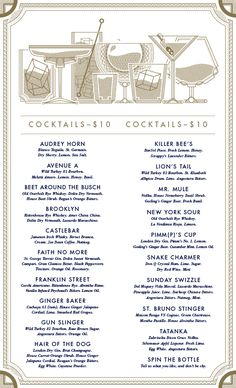 Buffalo Proper | visual communication. graphic design. menu design. restaurant menu. layout. grid. hierarchy. typography. cocktail menu. illustration.