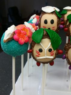 Moana themed Kakamora Cake pops