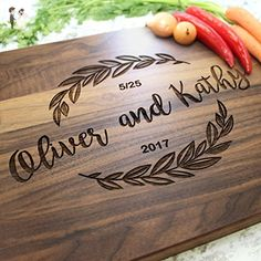 Olive Branch Garland Design Personalized Cutting Board - Engraved Cutting Board, Custom Cutting Board, Wedding Gift, Housewarming Gift, Anniversary Gift, Engagement W-039GB - Card and gift boxes (*Amazon Partner-Link)